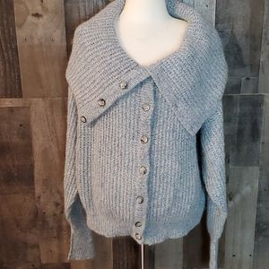 Rodier knit cardigan funnel neck collar  mohair
